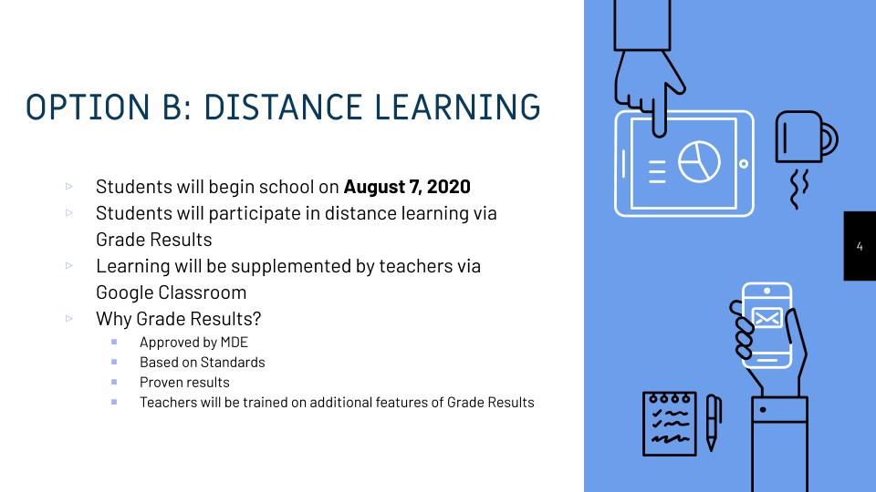 Option B - This picture summarizes the option for students to return to school on August 7 via distance learning.